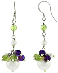Sterling Silver Pearl, Amethyst and Peridot Drop Earrings 4 mm Freshwater, 45 mm Long