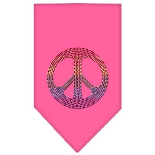 Dog Supplies Rainbow Peace Sign Rhinestone Bandana Bright Pink Large