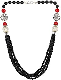 Aradhya Designer High Quality German Silver With Black Colour Stone Beads Necklace For Women And Girls