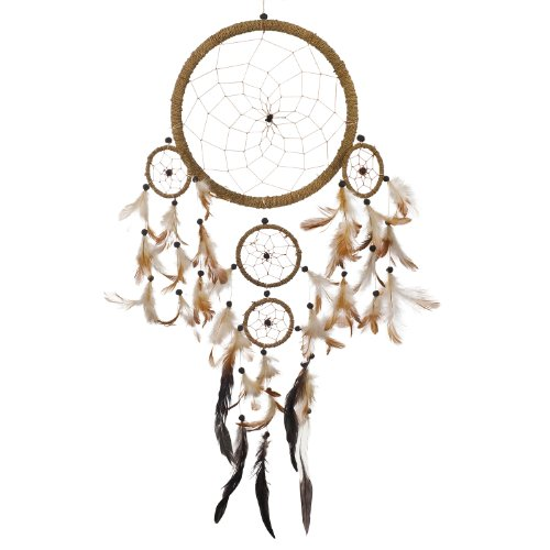 "Caught Dreams Dream Catcher ~ Handmade Traditional String Natural Color 8.5"" Diameter x 22"" Long!"