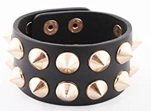 Black with Gold Spiked Genuine Leather Adjustable Snap Bracelet