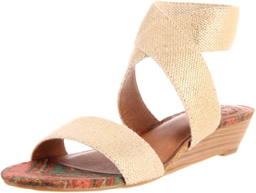 Lucky Women's Hunter Wedge Sandal,Natural/Gold Metallic,8.5 M US