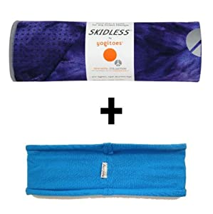 Lapis (deep blue tie-dye) Yogitoes® mat size SKIDLESS® yoga towel + blue hband stretchy headband combo by Absolute Yogi®