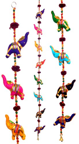 Door Hanging Decorative Cotton Elephants in Vibrant Color Stringed with Beads and Brass Bell