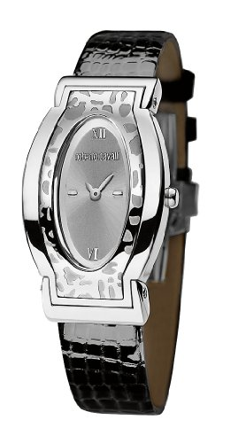 Roberto Cavalli Ladies Diana Analogue Watch R7251118515 with Quartz Movement, Leather Bracelet and Silver Dial