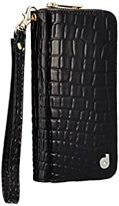 Zipper for iPhone6 Smartphone Case with wallet (Black Croco)