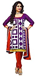 Urfashionguru Women's Chanderi Unstitched Dress Material (UFGDRMPK0054003_Purple_Free Size)
