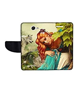 KolorEdge Printed Flip Cover For HTC Desire 516 -Multicolor (50KeMLogo10721HTC516)