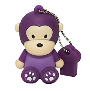 RICCO ® Baby Monkey USB 2.0 High Speed Silicon Flash Memory Drive Disk Stick Pen Support Windows and MacOS Great Gift (4GB SIT Purple)