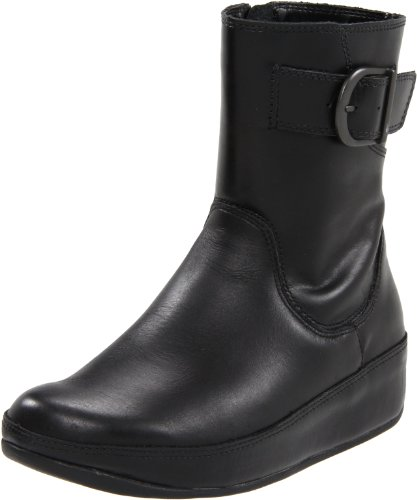 FITFLOP 162 Ladies HOOPER Boot Leather Shoe: Black: UK 5