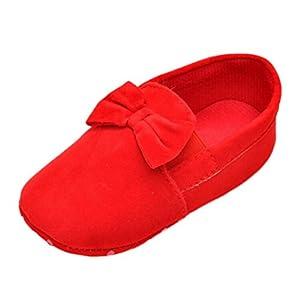 Sagton Baby Kids Elastic Band Prewalker Bowknot Toddler Soft Sole Crib Shoes (US:5, Red)
