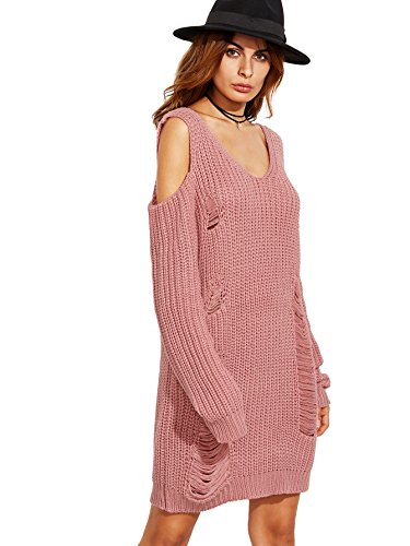 ROMWE Women's Casual Long Sleeve Cold Shoulder Ripped Sweater Dress Pink One-size