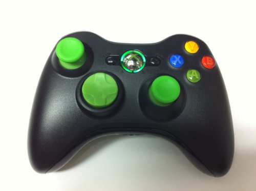 10 Modes! Green D-Pad, Thumb Sticks, Led! Black Xbox 360 Modded Rapid Fire Wireless Controller