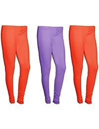 IndiWeaves Women Cotton Legging Comfortable Stylish Churidar Full Length Women Leggings-Red/Light Purple-Free...