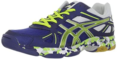 ASICS Men's Flashpoint Volleyball Shoe,Navy/Lime/Silver,14 M US