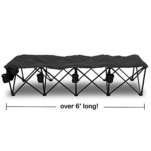 Goteam 4 Seat Portable Folding Team Bench Black Home Garden Kitchen Dining Food Beverage