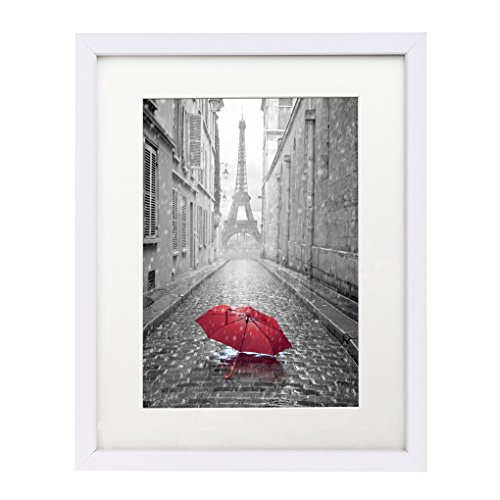 11×14 White Picture Frame – Made to Display Pictures 8×10 with Mat or 11×14 Without Mat – Sturdy Glass Front, Wall Mounting Material Included, White