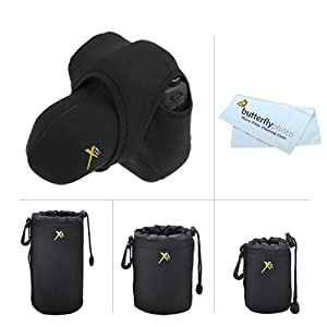 Neoprene Stretchy Wrap Sleeve Case For Canon EOS Rebel T5i, T4i, SL1, T3i, T3, EOS M DSLR, Nikon Df, D5200, D5300, D3300, D5100, D3200, D3100 DSLR + Bonus 3 Pack Neoprene Soft DSLR Lens Pouch Cases