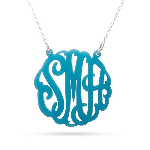 Turquoise Acrylic Monogram Necklace front-200422
