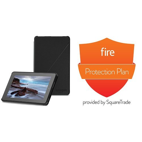 Amazon Fire Case (5th Generation - 2015 release), Black and 2-Year Protection Plan (Kindle Fire 7 Protection Plan compare prices)