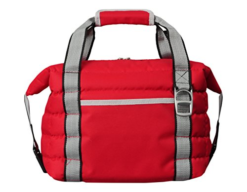 Heavy-Duty Red Soft Sided Collapsible Cooler Bag by Bayfield Bags - Holds 16 Cans -Lightweight Thermal Cooler (14x10x7) with Thick Lining & Insulation (Collapsible Cooler Waterproof compare prices)