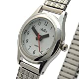 Ladies Silver Soft Expansion Expanding Expander Band Bracelet Watch (102206lx)