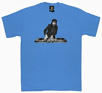 Royal T - John Lennon DJ Printed Men's T-Shirt Sky Blue Size XXL