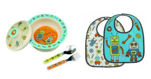 Sugarbooger Covered Bowl, Silverware, and 2 Bibs Set-Retro Robots