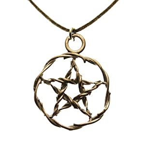 Pentacle Peace Bronze Pendant Necklace on Adjustable Natural Fiber Cord