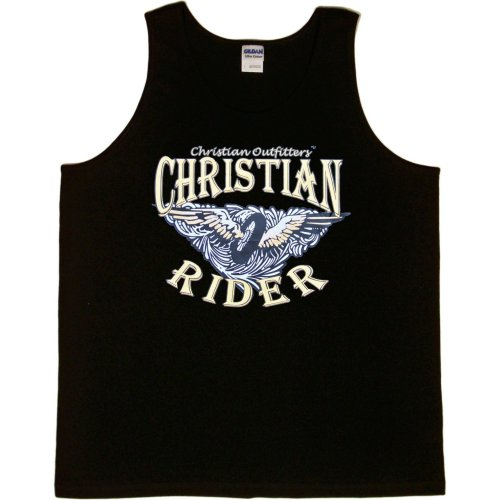 MENS TANK TOP : BLACK - MEDIUM - Christian Outfitters - Christian Rider - Biker Inspirational