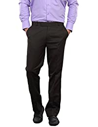 AUDACITY Trousers - Mens Formal Brown Matty Cotton Blend Regular Fit Trousers