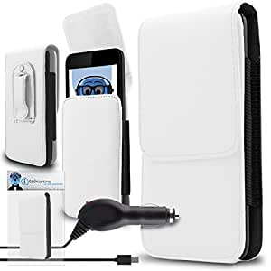 iTALKonline Alcatel Pop 4 White PREMIUM PU Leather Vertical Executive Side Pouch Case Cover Holster with Belt Loop Clip and Magnetic Closure and 1000 mAh Coiled In Car Charger LED Indicator and Overload Protection