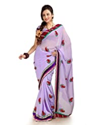 Designersareez Women Chiffon Embroidered Lavender Saree With Unstitched Blouse(1157)