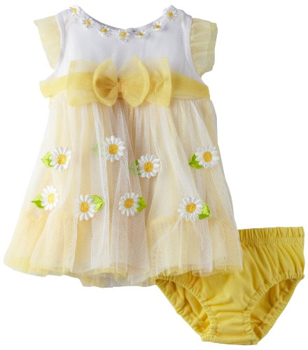 Nannette Baby-girls Newborn 2 Piece Flowers Knit Dress And Panty, Yellow, 0-3 Months