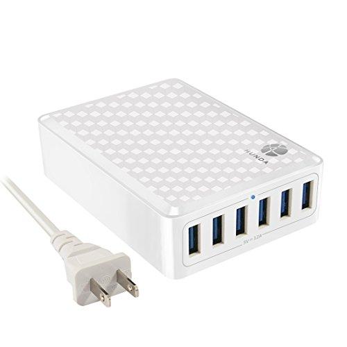 HUNDA 60W 6ポート USB急速充電器ハブ acアダプター インテリジェント チャージャー iPhone/Android全世代 スマホ/タブレット対応 (ホワイト)