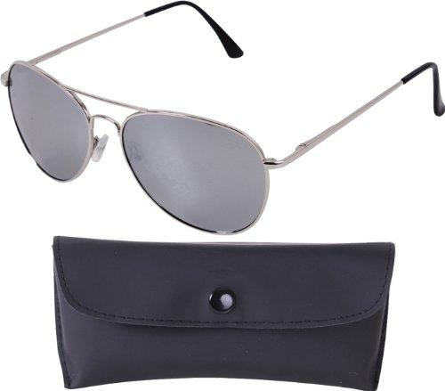 Chrome Frames & Mirror Lenses 58 Mm Polarized Sunglasses & Case