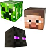 Official Minecraft Exclusive Steve, Creeper & Enderman Head Costume Mask Set