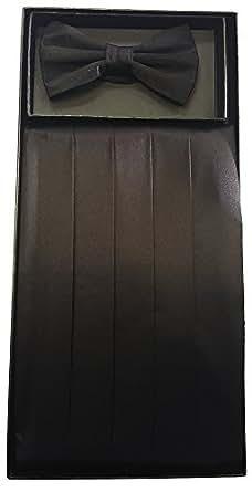 Silk Cumberbund & Bowtie Black Men's Cummerbund & Bow Tie Set
