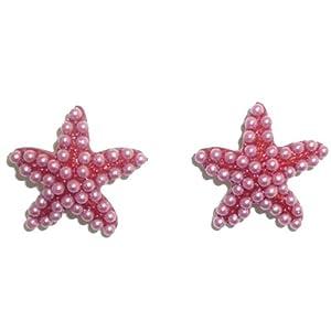 Pink Seed Pearl Starfish Pierced Earring