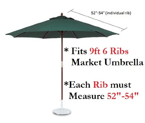 9ft Umbrella Replacement Canopy 6 Ribs in Black (Canopy Only)