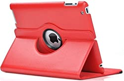 KolorFish iRotation 360 degree Rotate Leather Flip Stand Case Cover for Apple iPad Air Red