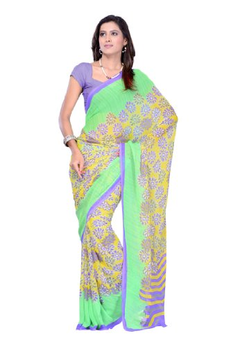 Incredible Indian Women Sari Wear Printed Green (LBMSR8180OC)