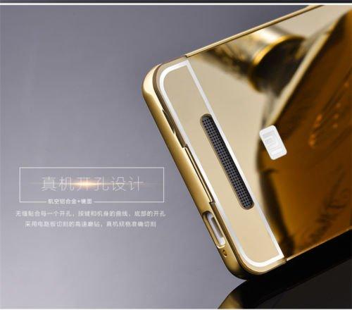 Xiaomi Redmi Note 3 Case, Fairbunny Luxury Metal Bumper Acrylic Mirror Back Cover Case For Xiaomi Redmi Note 3 - (Gold Mirror)