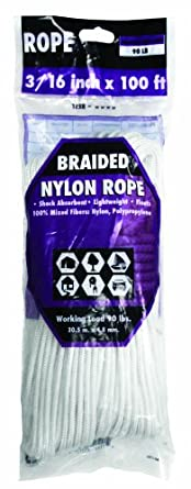 Rope King BN-316100 Braided Nylon Rope 3/16 inch x 100 feet