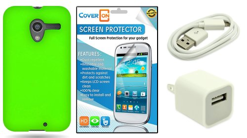 Coveron® Motorola Moto X Silicone Rubber Soft Skin Case Cover Bundle With Clear Anti-Glare Lcd Screen Protector & White Micro Usb Data Cable & White Wall Charger Adapter - Neon Green