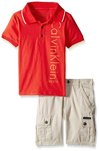 Calvin Klein Little Boys' 2 Piece Set- Polo with Cargo Short,Orange,4t Clothing