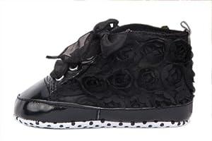 V-SOL Zapatos Con Flor Encaje Para Niñas Bebé 12cm - Negro