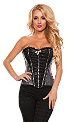 Starline Women's Exotic Frills Lacy Waist Cincher Bustier Corset, Grey, Small