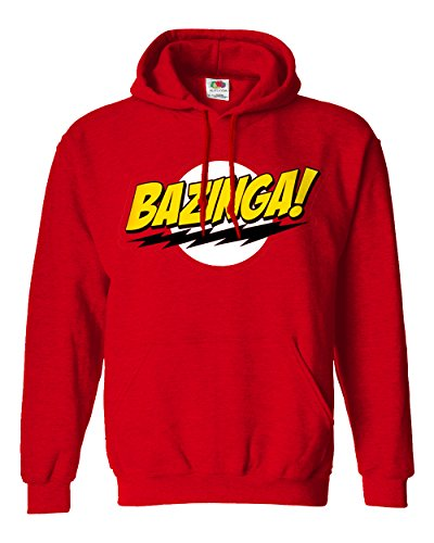 "Felpa Unisex ""Bazinga""- Felpa con cappuccio Big Bang Theory LaMAGLIERIA, XL, Rosso"