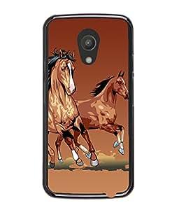 Fuson Horses Back Case Cover for MOTOROLA MOTO G2 - D3769
